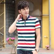 2015夏季新款 男士短袖T恤 韩版POLO衫修身条纹流行翻领男装半袖