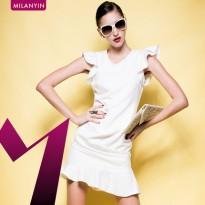 米兰茵2015夏季新款女装 雪纺修身不规则鱼尾裙显瘦无袖连衣裙女