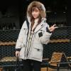 韩国冬季情侣宽松毛领大码军工装加厚羽绒服女中长款oversize外套