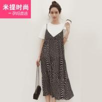 孕妇套装夏装时尚短袖宽松吊带裙两件套连衣裙夏季韩版孕妇装长裙
