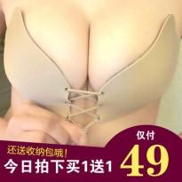 拉拉内衣女神隐形文胸聚拢小胸性感婚纱游泳胸贴大胸大码礼服胸罩
