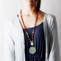 水晶毛衣链长款百搭复古红玛瑙挂件饰品项链女民族风挂链配饰