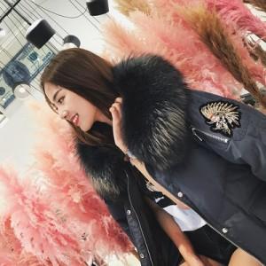 2017冬装新品超大真貉子毛领90白鸭绒手工刺绣羽绒服女中长款