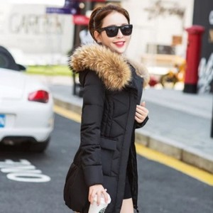 16新款千仞岗羽绒服女正品清仓加厚韩版修身中长款貉子大毛领外套