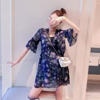 孕妇装 夏季韩版雪纺超宽松显瘦中长款五分袖V领上衣连衣裙潮妈