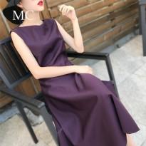 MC欧美女装2017秋季新款无袖中长款显瘦气质名媛礼服裙大摆连衣裙