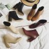 漫漫鱼 欧美网红范显瘦ol气质名媛复古方头高跟粗跟短靴裸靴女靴