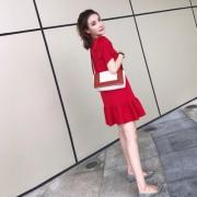 2017夏季新款女装秋装韩版显瘦红色裙子初秋小香风针织鱼尾连衣裙