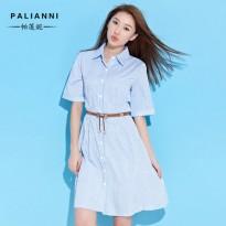 女装夏季2016新款夏装韩版裙子中长款显瘦高腰条纹长裙衬衫连衣裙
