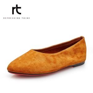 rt女鞋2016春季新款羊猄套脚轻便单鞋舒适圆头舞蹈鞋百搭真皮女鞋