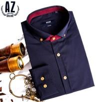 AZ蚁族型男夏季英伦商务长袖衬衫夏天男士薄款韩版修身秋季衬衣潮