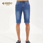 Edenbo/爱登堡夏季男士牛仔短裤五分裤直筒休闲中裤男正品