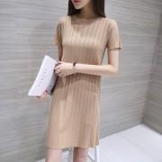 2016夏季新款圆领修身显瘦短袖连衣裙女纯色薄款中长款冰丝针织衫