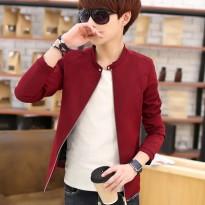 2016春季夹克男青少年薄款外套韩版修身圆领短款纯色外衣潮流男装