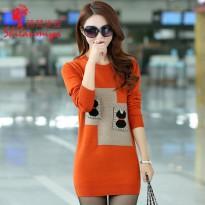 2016春秋新款韩版女装修身显瘦套头中长款针织打底衫毛衣女外套薄