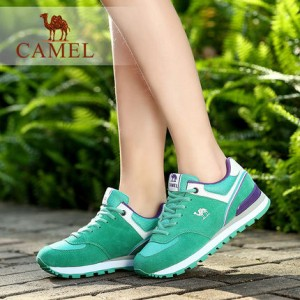 Camel/骆驼女鞋 反绒皮拼接网布绑带运动风休闲鞋 2016春季新款