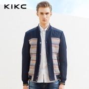 kikc2016春季男装新品 欧美简约拼色印花短款棒球服外套 休闲夹克