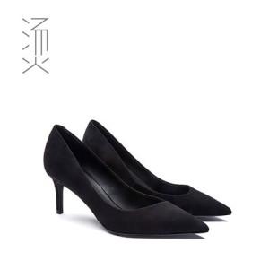 烫社交女鞋OL年会品牌黑色羊猄羊反绒斜口尖头细高跟鞋中跟女单鞋