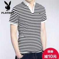 花花公子t恤男士短袖2016夏季男装中青年条纹体恤 潮半袖立领宽松