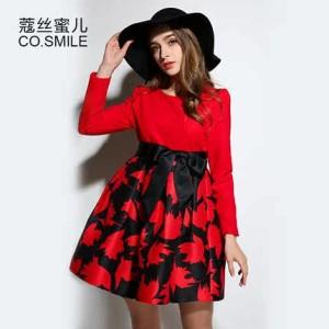 蔻丝蜜儿2016孕妇装春装新款 针织毛呢拼接提花红色孕妇连衣裙