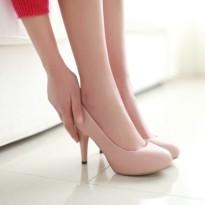 春秋单鞋圆头裸色高跟鞋鞋子细跟防水台浅口黑色工作鞋职业女鞋