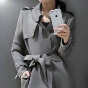 2016新款秋装女装春秋季气质上衣鹿皮绒大衣英伦中长款风衣女外套
