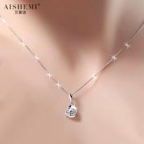 925银镶嵌施华洛世奇锆石项链女银饰品锁骨吊坠情人节礼物送女友