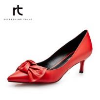 rt女鞋2016春季热卖新款羊皮羊猄浅口小单鞋蝴蝶结职业细高跟女鞋