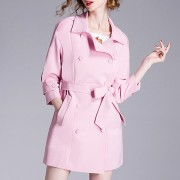 鹿歌2016春装新款女装 春秋季外套 粉色风衣女中长款修身显瘦大牌