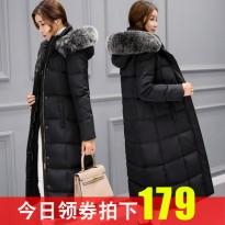 反季节清仓处理2017冬装新款韩国中长款长过膝韩版羽绒服女外套潮