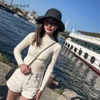 紧身毛衣女长袖圆领短款百搭秋冬打底衫 套头针织衫韩版学生毛衫