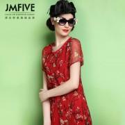 2016春装新款女装春秋修身短袖红色印花裙子桑蚕丝真丝连衣裙夏季