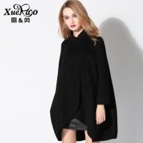 雪奥冬装新款韩版宽松羊毛呢外套女装中长款双面羊绒呢子大衣