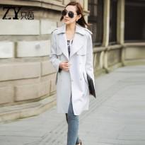 风衣女2016春秋新款女装中长款外套韩版大码显瘦时尚休闲粉色风衣
