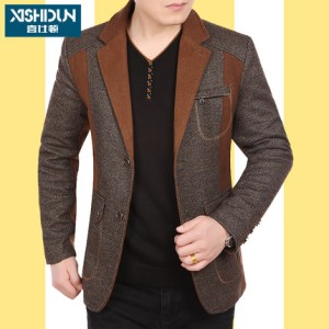 春秋季新款男装夹克男士休闲西装领外套修身中年外衣薄款爸爸装