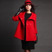 CM女装秋冬新款时尚欧美立领七分袖毛呢外套斗篷羊毛大衣女潮