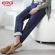 ERQ男装秋冬牛仔裤中低腰直筒修身大码休闲男士牛仔裤长裤潮
