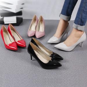 春秋季欧美浅口单鞋女职业OL工作鞋婚鞋高跟细跟尖头性感单鞋女