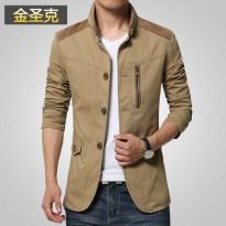 金圣克夹克男 男士韩版薄款外套夹克中年男纯棉男装休闲春季秋季