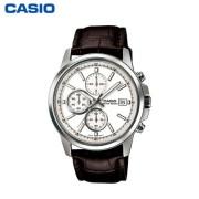 卡西欧MTH-5001L经典三眼休闲男士石英商务手表时尚真皮表带