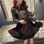 新款孕妇春季连衣裙韩版中长款孕妇装春装圆点上衣打底衫裙子
