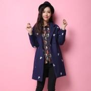 本兹冬季新款时尚刺绣小鸟加厚中长款毛呢外套 女修身呢大衣