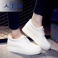 人本韩版厚底内增高帆布鞋女白色低帮学生松糕鞋 休闲系带小白鞋