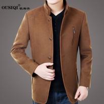 2016春季新休闲男装中年男夹克中长款呢子毛呢外套加厚立领爸爸装