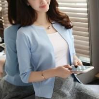 暖莱伊春夏新款简约五分袖褶皱薄针织女毛衣开衫显瘦短外套空调衫
