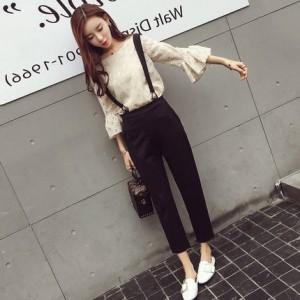 背带裤2017新款女装秋季韩版气质chic风两件套小香风洋气淑女套装