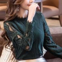 2017初秋装新款大码蕾丝上衣女装镂空半高领秋冬修身长袖打底衫女