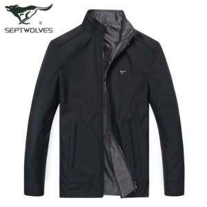 七匹狼夹克 男士双面外套 2016春季新款立领茄克jacket 男装正品