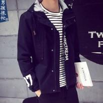 男孩很忙2016春装男士连帽夹克日系印花加肥外套韩版修身潮流男装