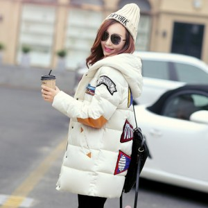 冬装韩版新款加厚小棉服短款棉衣_贴布印花连帽羽绒服